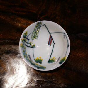 Handpainted Underglaze Pastel Hat Tea Cup