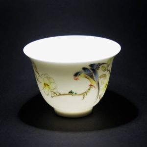 Handmade Pastel Porcelain Tea Cups with Flowers and Birds