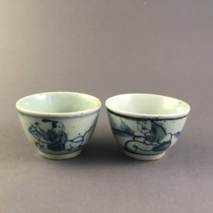 vintage style blue and white tea cups