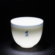 Hand Painted Blue and White Double-circle Porcelain Tea Cups with Buddhist Words