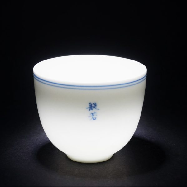 HandPainted Blue and White Double-circle Porcelain Tea Cups with Buddhist Words