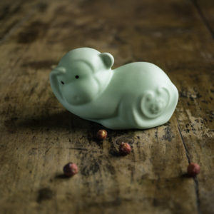 Green Ru Kiln Animal Tea Pet--Monkey