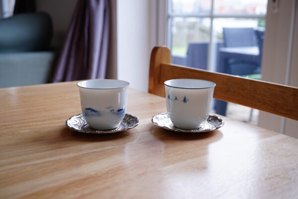 Premium Hand-painted Blue and White Teacups Set - a Bird and a Fisherman