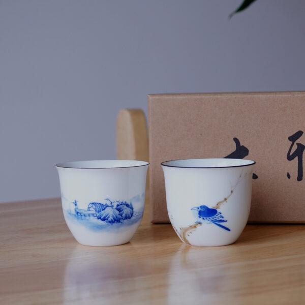 Premium Hand-painted Landscape Cups in Pair