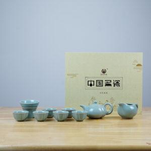 Petal shaped Teapot Ru Porcelain Tea Set-Square