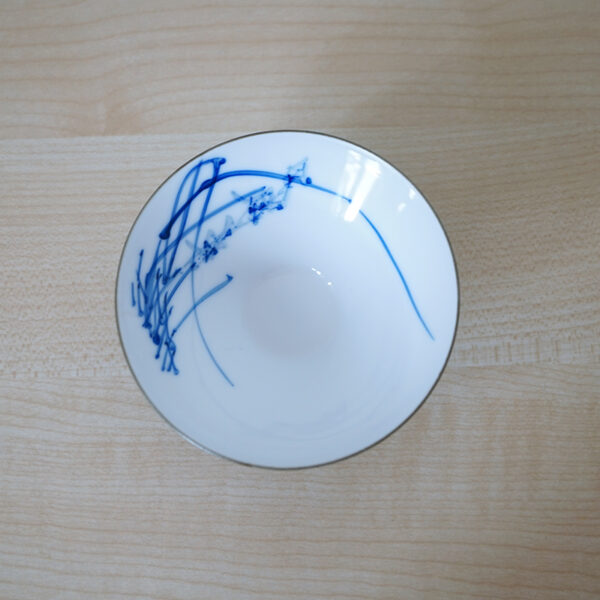 Product photo of Blue and White Porcelain Bamboo-Hat teacup--Orchid Blossom